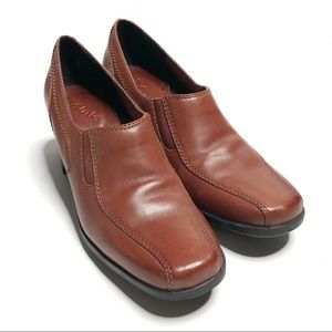 Clarks Brown Leather Block Heel Loafers